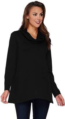 Susan Graver Rayon Nylon Sweater w/ Crinkle Chiffon Cowl Neck