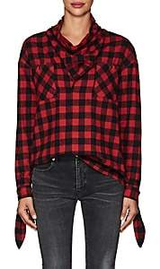 Opening Ceremony WOMEN'S BUFFALO-CHECKED FLANNEL COWLNECK TOP SIZE 8