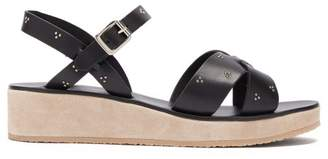 A.P.C. Studded Cross Strap Leather Sandals - Womens - Black