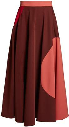 Roksanda Milena tri-colour stretch-crepe midi skirt