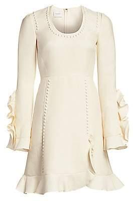 Giambattista Valli Women's Studded Ruffle Wool Crepe Dress