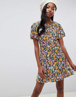 Miss Selfridge tea dress with wrap detail in floral print