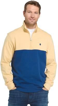 Izod Big & Tall Advantage Sportflex Colorblock Quarter-Zip Fleece Pullover