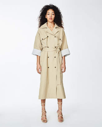 Nicole Miller Cotton Stripe Trench Coat