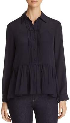 Emporio Armani Button-Down Silk Peplum Top