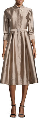 Rickie Freeman for Teri Jon 3/4-Sleeve Belted Midi Shirtdress $398 thestylecure.com