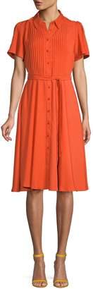 Nanette Lepore Nanette Puffed-Sleeve Tie-Waist Shirtdress