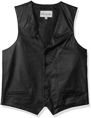 Excelled Men's Tall Size Premium Soft Lambskin Leather Vest