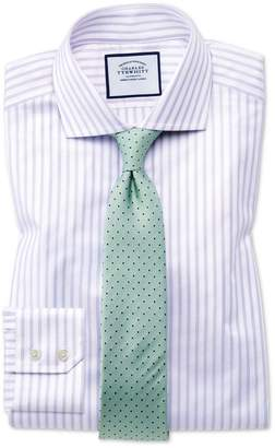 Charles Tyrwhitt Extra Slim Fit Spread Collar Textured Stripe Lilac and White Cotton Dress Shirt Single Cuff Size 14.5/33
