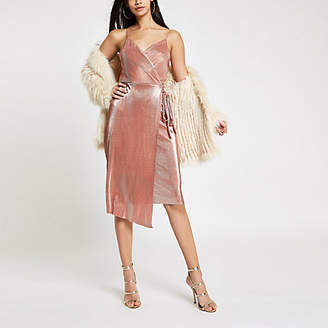 River Island Pink metallic plisse tie waist midi dress