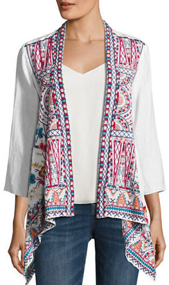 JWLA For Johnny Was Mina Embroidered Linen Cardigan $290 thestylecure.com
