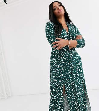 Asos DESIGN Curve long sleeve button through maxi tea dress with splits in ditsy print