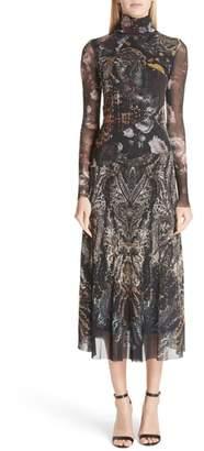 Fuzzi Mixed Print Tulle Turtleneck Dress
