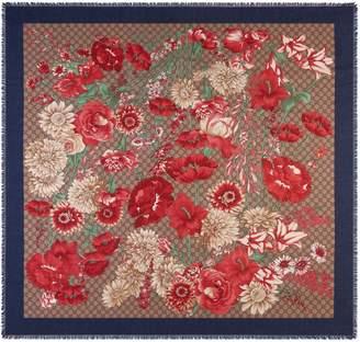 Gucci GG Supreme Spring Bouquet Modal & Silk Shawl