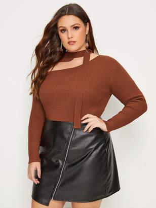 Shein Plus Asymmetric Neck Solid Sweater