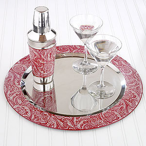 Red Scroll Print Serving Tray