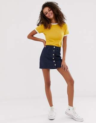 Brave Soul nikita cord button through skirt