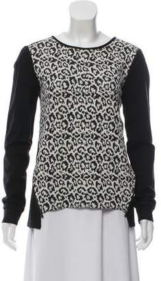 Tibi Leopard Print Long Sleeve Top