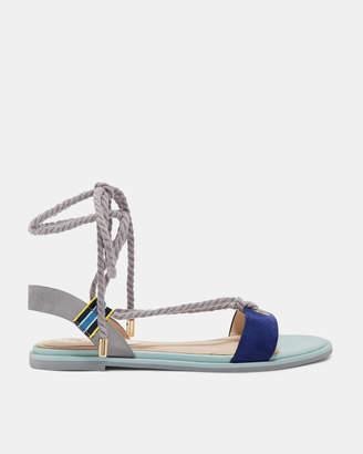 MOYAA Suede rope tie flat sandals