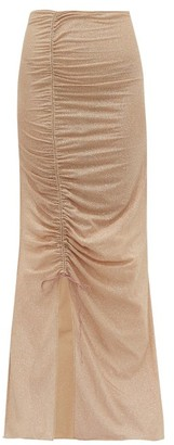 Oseree Lumiere Ruched Metallic Tulle Maxi Skirt - Womens - Nude