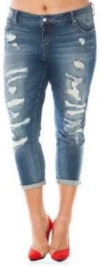 Slink Jeans Plus Plus Rolled Boyfriend Jeans