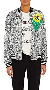Mira Mikati Women's Sequined Bomber Jacket-Silver