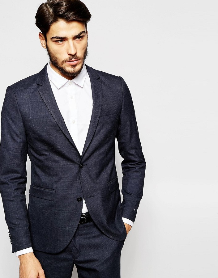 Jack And JonesJack & Jones Premium Tonal Check Suit Jacket in Slim Fit