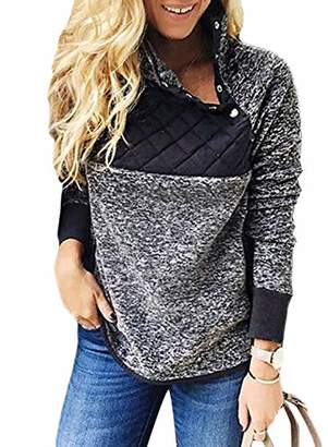 Actloe Women Stand Collar Button Down Neck Casual Pullover Sweatshirt Fleece Outwear with Pockets