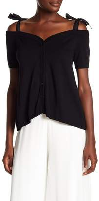 Nicole Miller Cold Shoulder Button Down Blouse