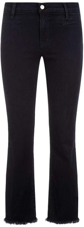 Cropped Fringe Trim Jeans