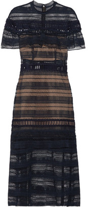 Self-Portrait - Ruffled Guipure Lace Midi Dress - Midnight blue $595 thestylecure.com