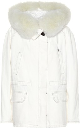 Yves Salomon Army Fur-trimmed denim jacket