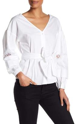 Laundry by Shelli Segal Lace Accent Poplin Wrap Blouse