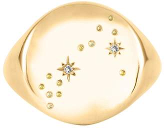 No 13 - Pisces Constellation Signet Ring Diamonds & 9ct Gold