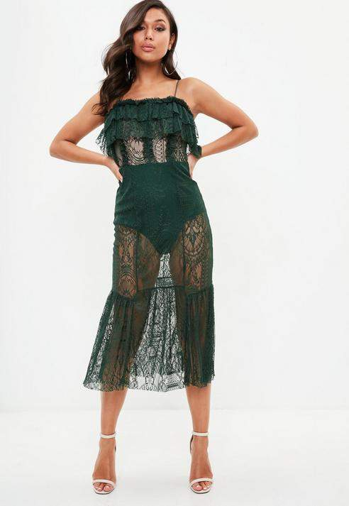 Missguided Strappy Lace Insert Dress