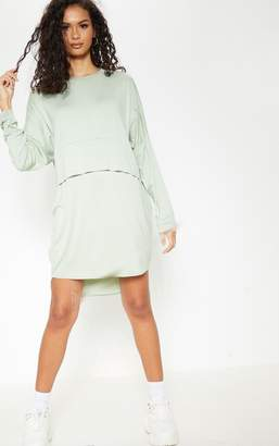 PrettyLittleThing Stone Long Sleeve Layer Jersey T Shirt Dress