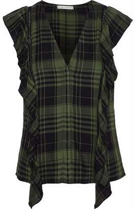 Alice + Olivia Janet Ruffle-Trimmed Checked Flannel Blouse