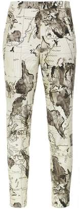 Andrea Marques map print skinny trousers