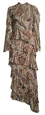 Etro Women's Paisley Tier Ruffle Midi Gown