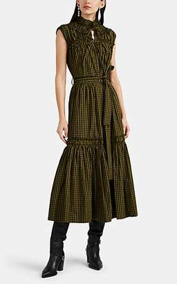 Proenza Schouler Women's Gingham Cotton Ruffle Midi-Dress - Grn. Pat.