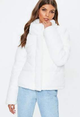 Missguided White Faux Fur Bomber Jacket, Cream
