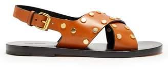 Isabel Marant Jane Stud Embellished Leather Sandals - Womens - Tan