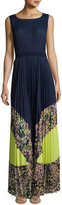 BCBGMAXAZRIA Colorblocked Pleated Maxi Dress, Blue Pattern $369 thestylecure.com