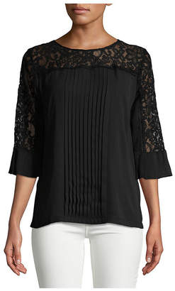 Karl Lagerfeld Paris Pleated Lace Top