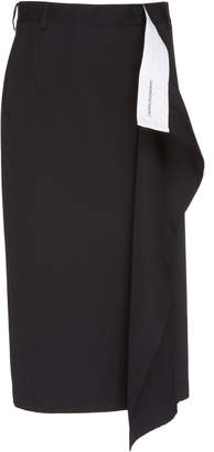 Calvin Klein Raw Cut Wool Gabardine Wrap Skirt
