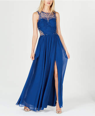 City Studios Juniors' Embellished Illusion Tulip Gown