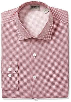 Kenneth Cole Reaction Men's Technicole Slim Fit Stretch Print Spread Collar Dress Shirt