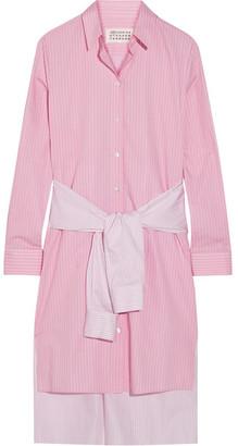 Maison Margiela - Tie-front Striped Cotton-poplin Shirt Dress - Baby pink $1,595 thestylecure.com
