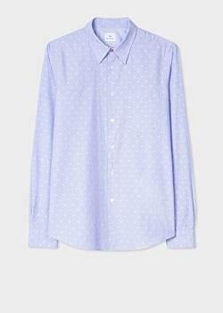 Paul Smith Men's Tailored-Fit Sky Blue Polka Dot Jacquard Cotton Shirt