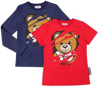 Moschino Set Of Teddy Bear Cotton Jersey T-Shirts